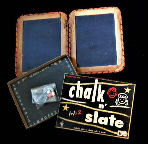 C1870 Wood Frame Double School Slate plus C1960 Transogram Boxed Slate