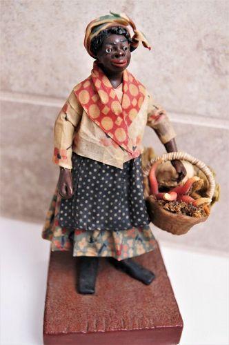 1920 New Orleans Vargas Wax Black Doll Female Vegetable Seller