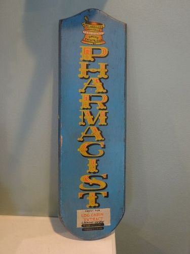 1970s Victorian-Look LOG CABIN EXTRACT PHARMACIST Sign