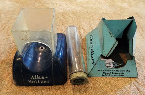 2 Vintage ALKA-SELTZER Pharmacy Drugstore Dispenser Product Displays