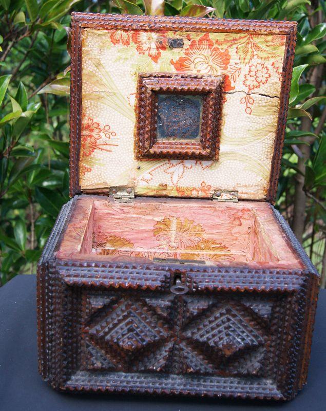 C1880s Tramp Art Locking Mirrored Jewel Box Fabulous Early Example