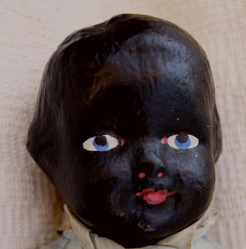 C1910 Beautiful Black Memorabilia Composition Shoulder Head Doll