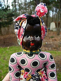 1930s Composition Head Black Female Doll Made in Poland