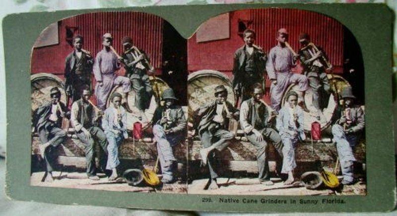Stereoview Black Men Harvesting Florida Sugar Cane 1890s
