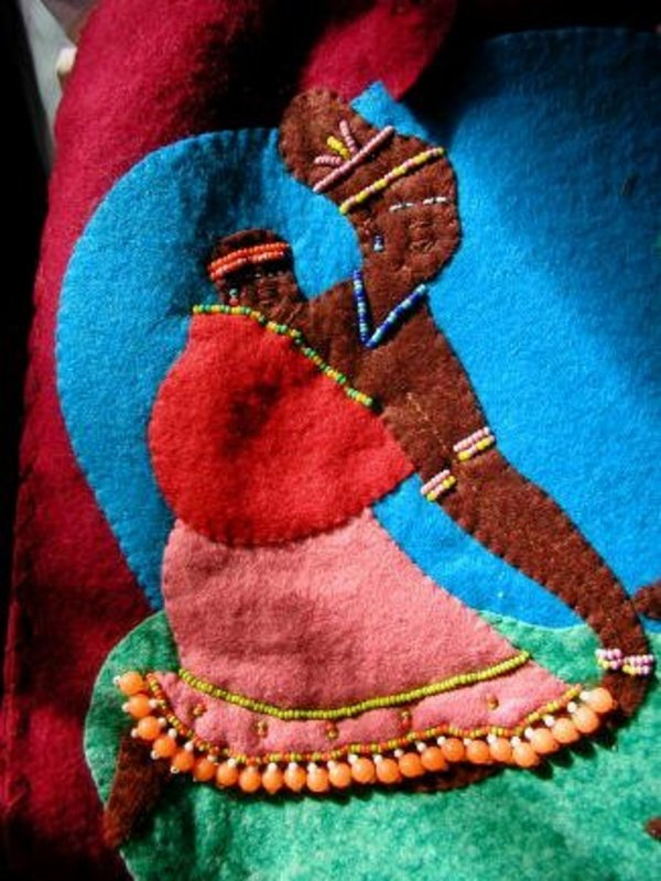 1940 Highly Detailed Wool ToteBag Black African Family w/Fab Bead Work