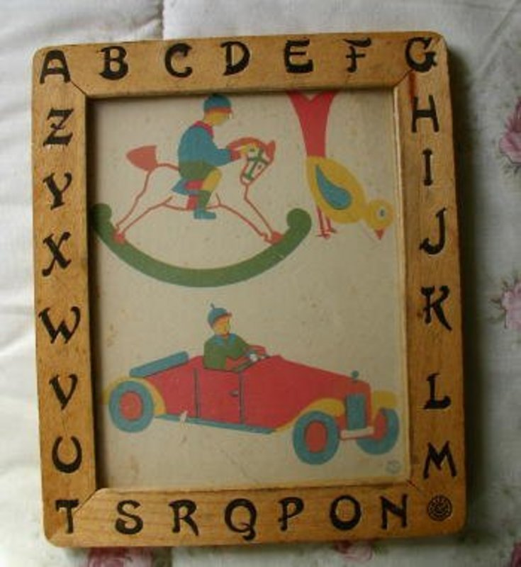 1930s Germany Kindergarten School Fine Motor Practice ABC Frame