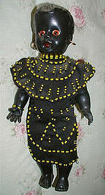 1940-50 Black Memorabilia Mammy African Dolls Mother + Baby BEADWORK