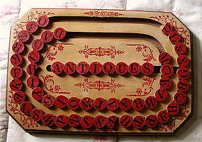 Exquisite 1886 Patent Date Wooden School ABC Alphabet Spelling Board