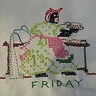 Black Americana Mammy 5 Days of the Week Hand Embroidered Towels