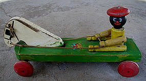 Black Memorabilia Hustler Wood Boy + Horse 30'sPull Toy