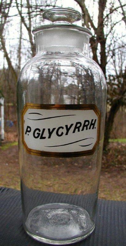 RARE 19th C Apothecary LUG Pharmacy Bottle P. GLYCYRRH. 12 inch