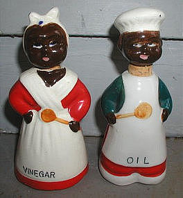 1940s Japan Oil Vinegar Set Black Mammy and Uncle Mose
