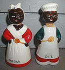 1940s Japan Oil Vinegar Set Black Mammy and Uncle Mose