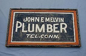 C1920s Painted Tin Connecticut Plumber Advertising Sign