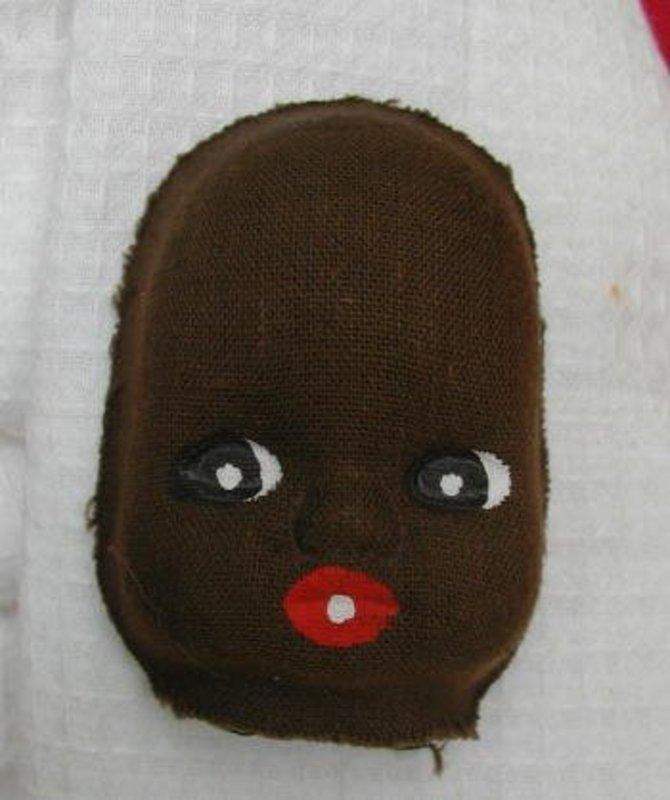 1930s Black Memorabilia Molded Black Cloth Doll Face