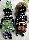 1940 Black Memorabilia Pair African Native HandPainted Beaded Dolls