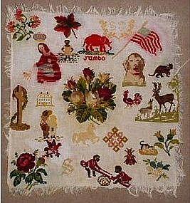 19thC Underground Railroad ? Wool Needlepoint Sampler