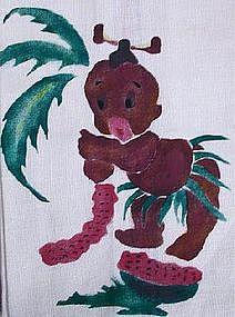 1950s Little Brown Koko Hand-Painted Linen Towel