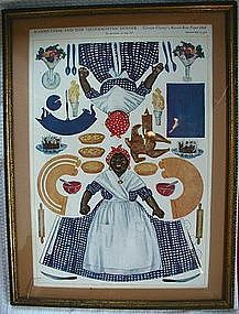 Framed 1912 Mammy + Her Thanksgiving Dinner Paper Doll