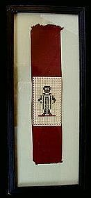 C1890 Black Memorabilia Cross Stitch Sampler Little Boy