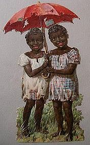 1920 Black Memorabilia DieCut Advertising 2 Young Girls under Umbrella