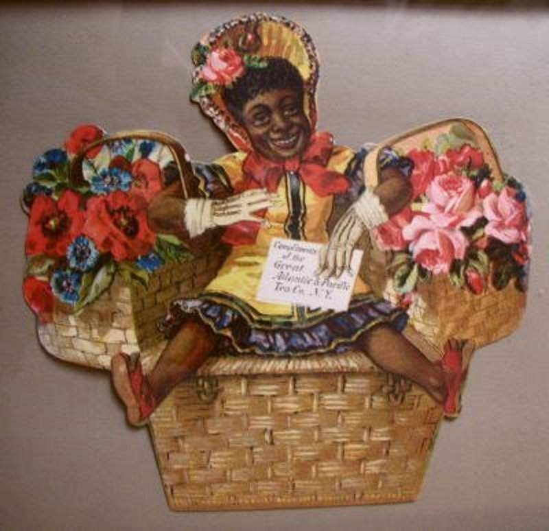 1930 A&P Grocery Store Black Girl in Basket Advertising Diecut