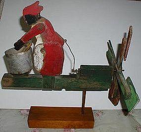 All Original 1920s Black Washerwoman Folk Art Whirligig