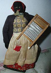 1930 Alabama WPA Folk Art Black Cloth Washerwoman Doll