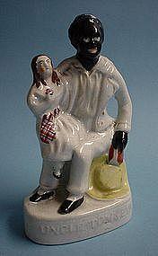 1855English Staffordshire Uncle Tom & Little Eva Figure