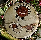 RARE Folk Art 1920s Black Face Minstrel Banjo & Case
