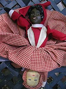 Wonderful 1901 Patent Albert Bruckner Black/White Topsy Turvy Doll