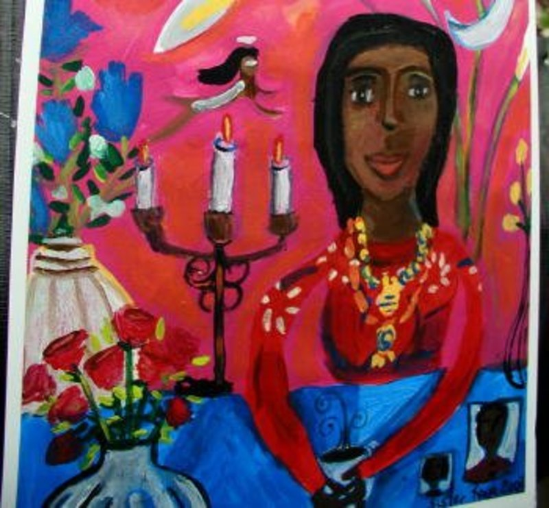 Original Outsider Folk Art Painting Coffee With the Spirit World