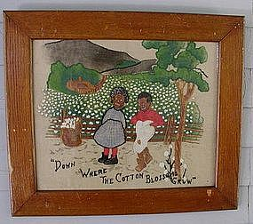RARE 1890s Folk Art Painted Needlework Dixie Black Folk
