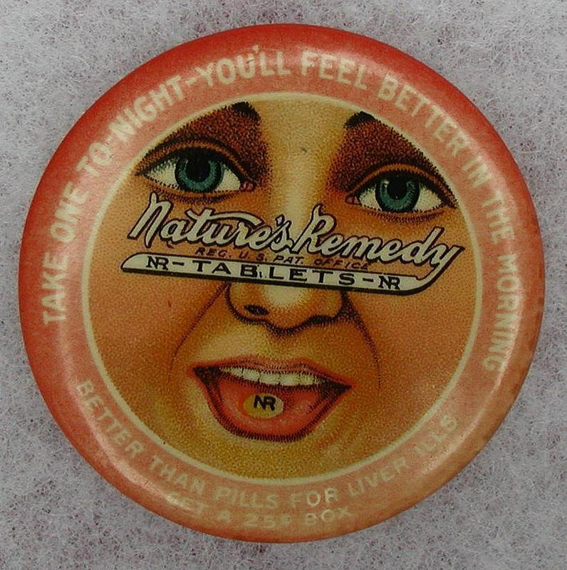 C1920s Nature's Remedy Apothecary Advertising Pocket Mirror