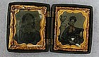 19thC  Photo Tin Types 3 Women Double Gutta-Percha Case