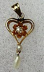 Vintage Victorian Pink Gold Heart Lavalier with 2 Pearls and 1 Diamond