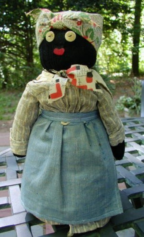 Diminutive and Sweet 1940s Black Mammy Bottle Doll