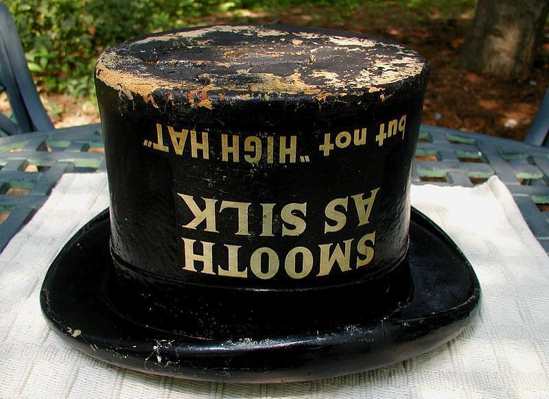 19thC Kessler's SMOOTH AS SILK WHISKEY Advertising Top Hat Display