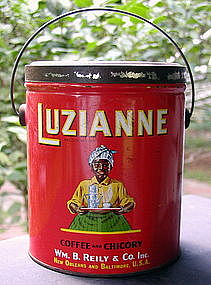 1928 LUZIANNE 3LB Mammy Coffee Tin Black Memorabilia