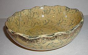 C1920 Ohio Yellowware Blue Spongeware Fruit Bowl w/Gilt