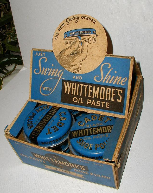 C1930s Complete NOS Whittemore's Shoe Shine Polish Display w/12 cans