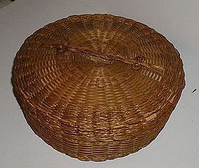1910 Native American Sweet Grass + Poplar Sewing Basket