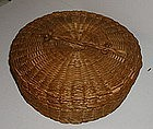 1910 Maine Penobscot Native American Sweet Grass Poplar Sewing Basket