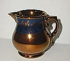 Lovely 19thC Copper Lustre Creamer Jug w/ Blue Band