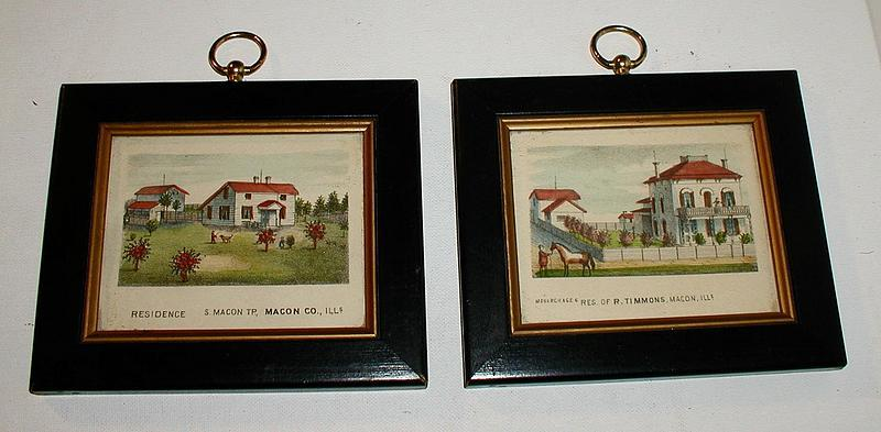 19thC Hand-Colored Mini Lithographs Timmons Residences Macon Illinois
