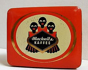 Sweet 1930s Negro German Coffee Tin w/ 3 Black Children