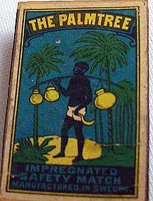 1930s Sweden Match Box w/ Black Man Palm Tree Coconuts