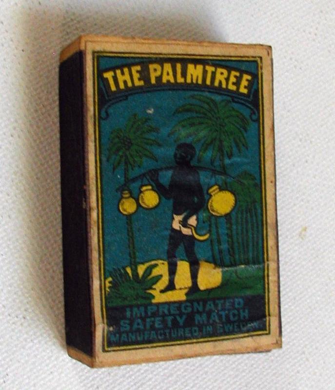 1930s Sweden Match Box w/ Black Man Palm Tree Coconuts
