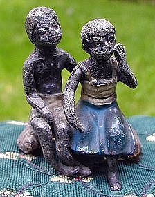 1920s Austrian Cast Iron Black Boy + Girl on Tree Stump