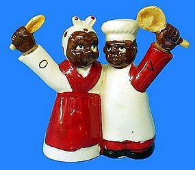 1940s Japan Black Mammy + Male Chef Oil Vinegar Cruet